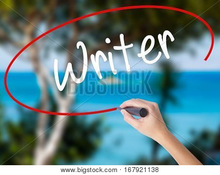 Woman Hand Writing Writer With Black Marker On Visual Screen