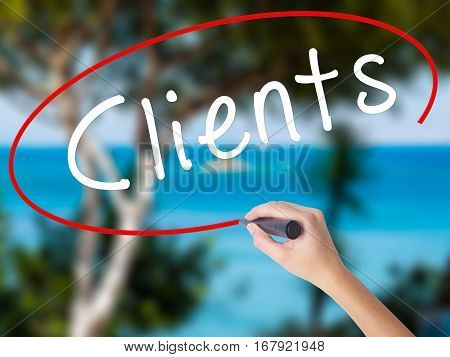 Woman Hand Writing Clients With Black Marker On Visual Screen