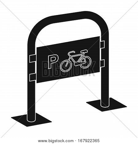 Bicycle parking icon in black design isolated on white background. Parking zone symbol stock vector illustration.