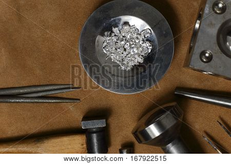 Tools Of Jewellery. Jewelry Workplace On Leather Background With Copy Space For Text. Top View.