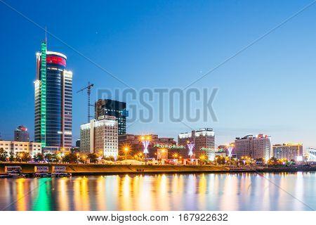 MINSK, BELARUS - June 2, 2015: Night View Of Business Center Royal Plaza -Skyscraper on Pobediteley Avenue in district Nemiga