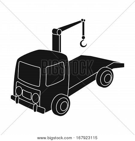 Tow truck icon in black design isolated on white background. Parking zone symbol stock vector illustration.