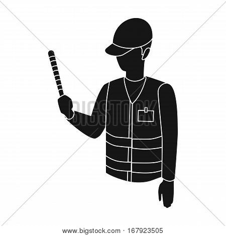Parking attendant icon in black design isolated on white background. Parking zone symbol stock vector illustration.