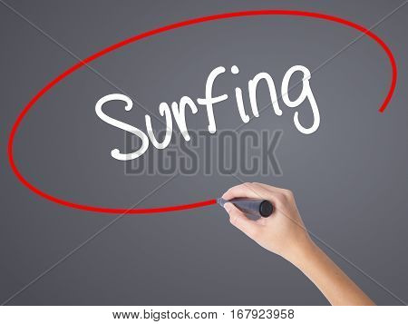 Woman Hand Writing Surfing  With Black Marker On Visual Screen