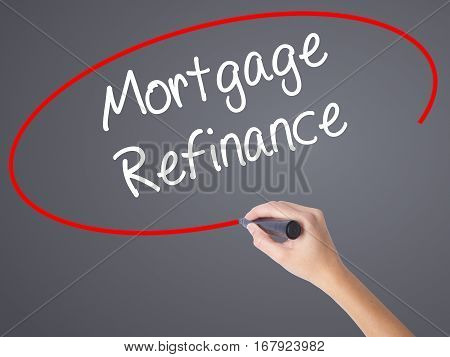 Woman Hand Writing Mortgage Refinance With Black Marker On Visual Screen