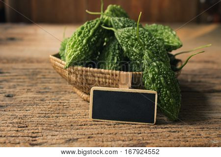Bitter melon fresh organic green herb or vegetable.