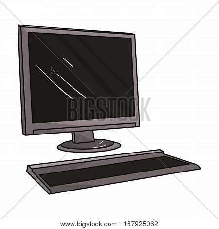 Computer icon in cartoon design isolated on white background. Architect symbol stock vector illustration.