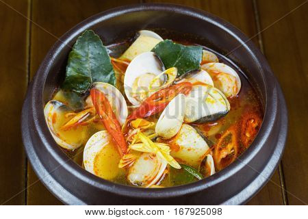 Spicy Steam Clam On Bowl. Thai Food