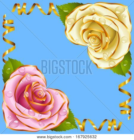 Corner vignette from the Rose Heart and Swirl Ribbons. Pink and White Flowers with Gold Trim and Golden Streamers. Valentines Day, Wedding celebration or Romantic Lovely Design. Vector Illustration