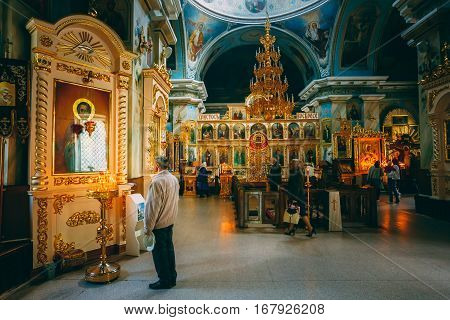 GOMEL, BELARUS - MAY 9, 2015: Interior Of Belarussian Orthodox Cathedral of St. Peter and Paul