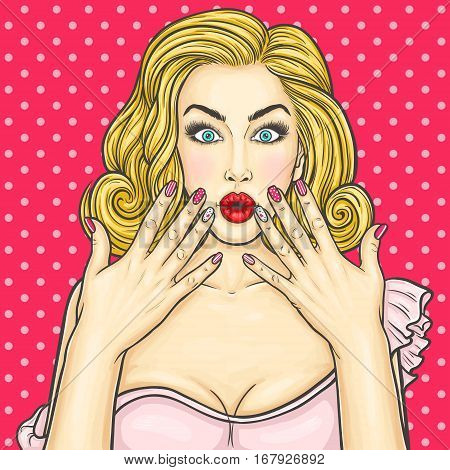 Vector pop art illustration of a young woman shows her manicure