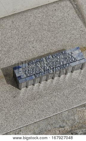 View of metal type pieces ready to use