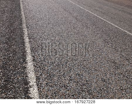 Australian outback road markings on a hot textured road