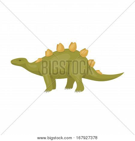 Dinosaur Stegosaurus icon in cartoon design isolated on white background. Dinosaurs and prehistoric symbol stock vector illustration.