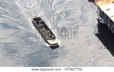 Small And Old Long Tailed Boat.