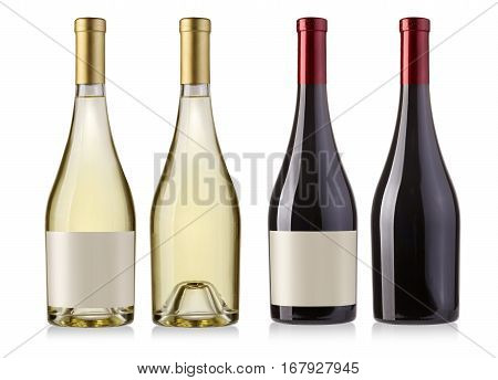 white and red wine bottles set isolated on white