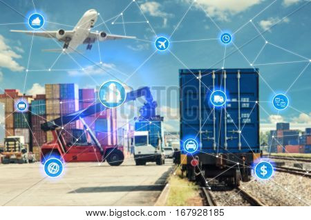Global business connection technology interface global partner connection of Container Cargo freight train for logistic import export background. Business logistics concept internet of things
