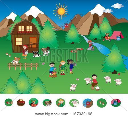 visual game for children with mountain lanscape