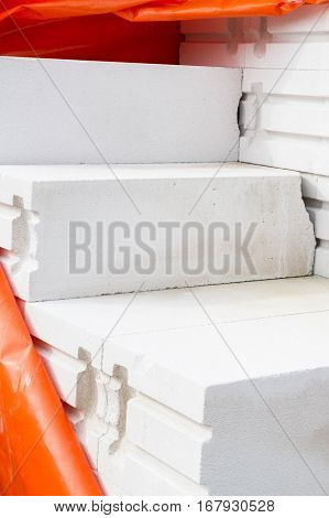 Building Material Aerated Concrete Blocks On A Building In Base