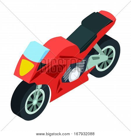 Motorcycle icon in cartoon design isolated on white background. Transportation symbol stock vector illustration.