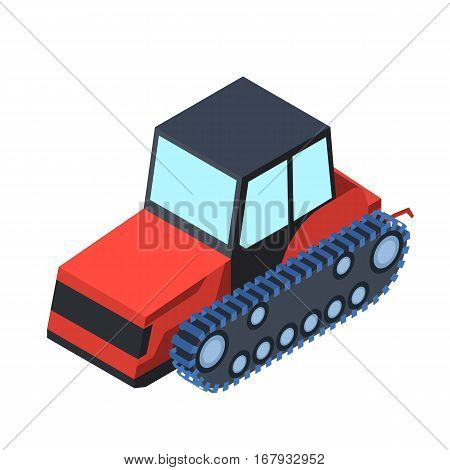 Tracked tractor icon in cartoon design isolated on white background. Transportation symbol stock vector illustration.