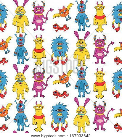 Creepy colorful doodles monsters mutants cute seamless vector pattern