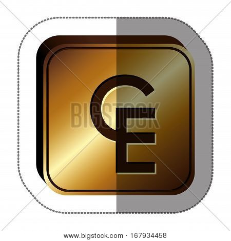 sticker golden square with currency symbol of european currency unit vector illustration