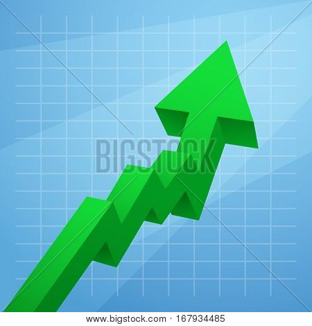 Green arrow graph rises upwards isolated on white background. Vector illustration