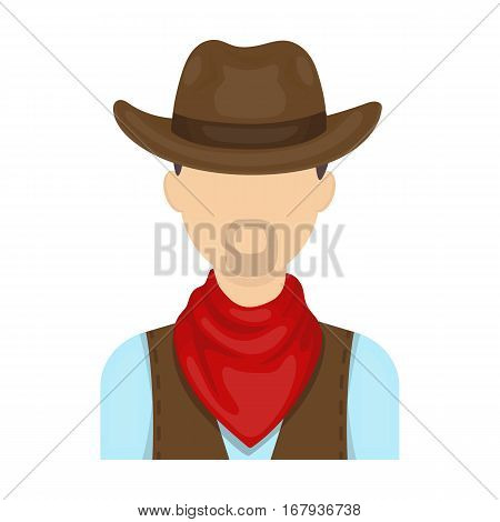 Cowboy icon in cartoon design isolated on white background. Rodeo symbol stock vector illustration.