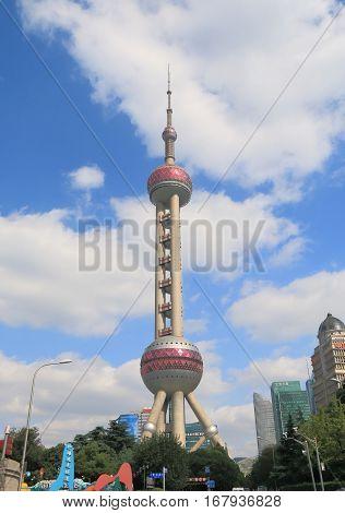 SHANGHAI CHINA - NOVEMBER 1, 2016: Oriental Pearl TV tower.