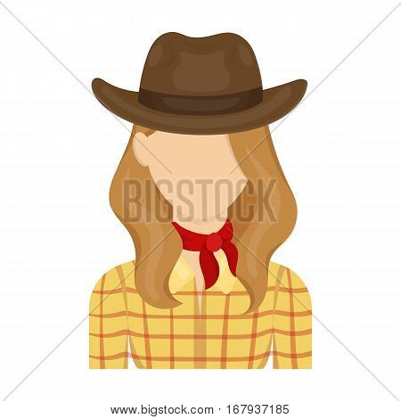 Cowgirl icon in cartoon design isolated on white background. Rodeo symbol stock vector illustration.
