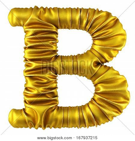 Alphabet made of golden fabric. Isolated on white. 3D illustration.