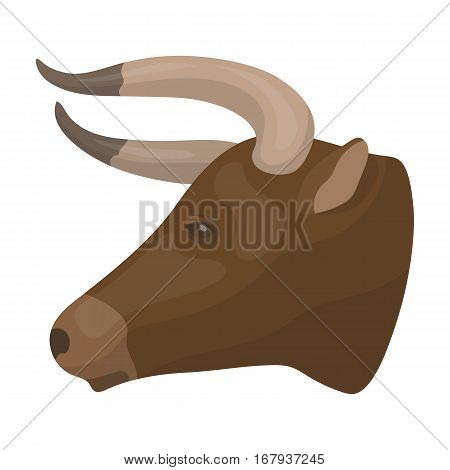 Head of bull icon in cartoon design isolated on white background. Rodeo symbol stock vector illustration.