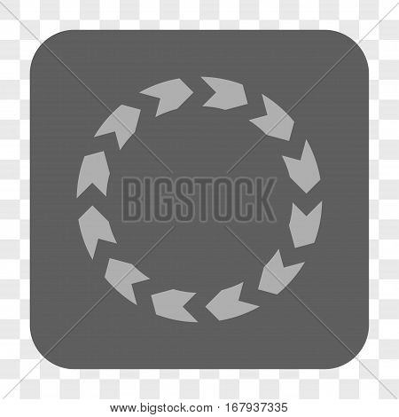 Circulation interface toolbar button. Vector icon style is a flat symbol inside a rounded square button, light gray and gray colors, chess transparent background.