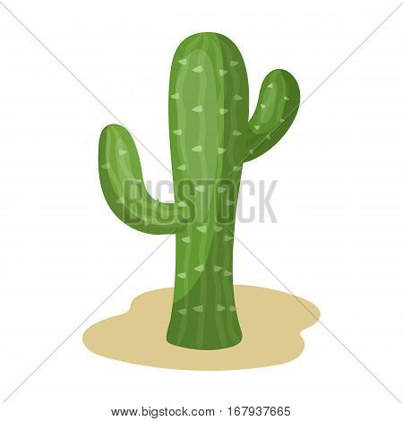 Cactus icon in cartoon design isolated on white background. Rodeo symbol stock vector illustration.