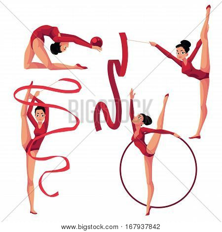 Set of beautiful girl doing rhythmic gymnastics with ribbon, ball, hoop, cartoon vector illustration isolated on white background. Beautiful rhythmic gymnast exercising with ribbon, ball, hoop