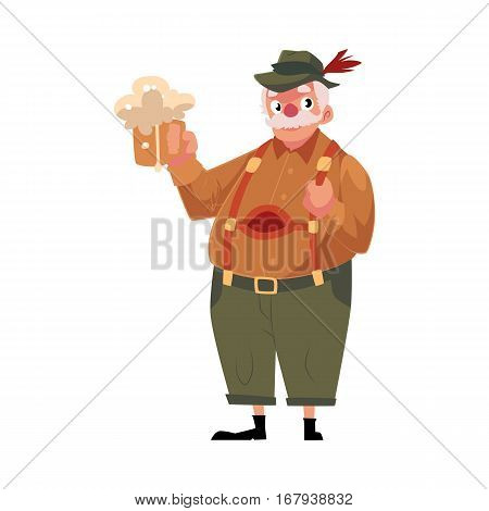 Elder grey haired man in traditional German, Bavarian Oktoberfest costume holding beer mug, cartoon vector illustration isolated on white background. German, Bavarian man in traditional costume