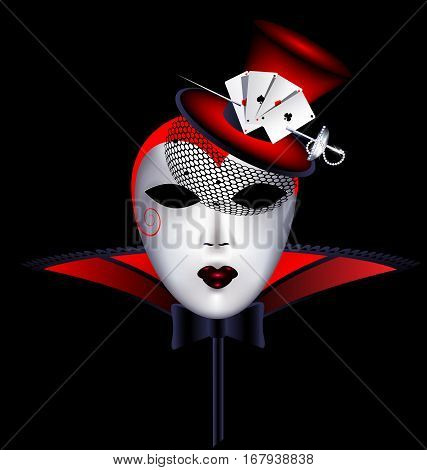 dark background and the large white-red carnival mask decorated with top-hat, veil, cards, jewel sword