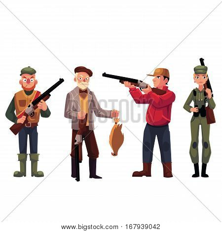 Set of various male and female hunters - old fashioned, modern, military style, cartoon vector illustration isolated on white background. Full length portrait of typical hunters with guns