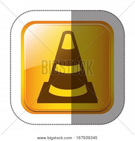 sticker square shape with striped traffic cone vector illustration vector illustration