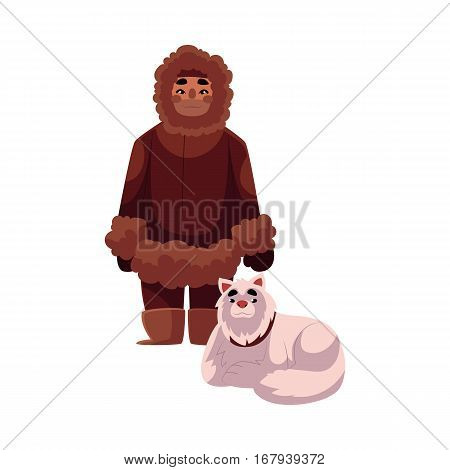 Eskimo, Inuit man in warm winter clothes with white fluffy sledge dog, cartoon vector illustration isolated on white background. Full length portrait of Eskimo, Inuit man and sledge dog