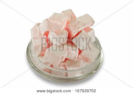 Turkish delight on white background. Pink Turkish delight.