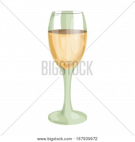 Glass of white wine icon in cartoon design isolated on white background. Wine production symbol stock vector illustration.