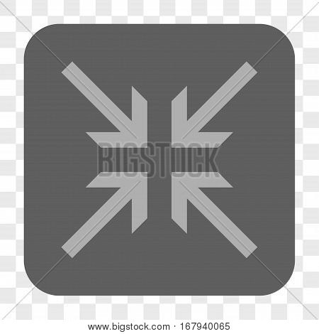 Collide Arrows interface toolbar button. Vector icon style is a flat symbol on a rounded square button, light gray and gray colors, chess transparent background.