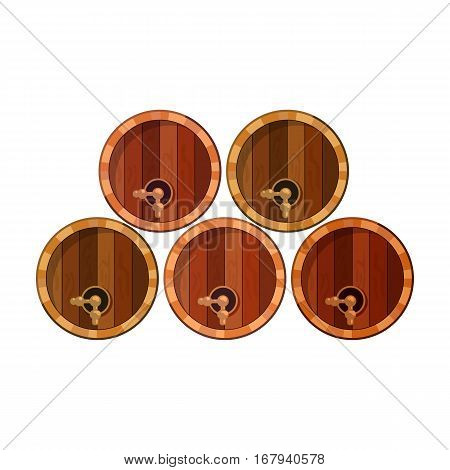 Wine barrels icon in cartoon design isolated on white background. Wine production symbol stock vector illustration.