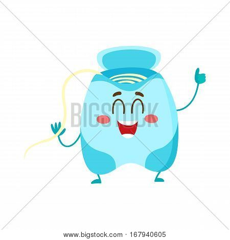 Cute and funny dental floss character giving thumb up, cartoon vector illustration isolated on white background. Dental floss funny character, teeth hygiene, dental care for children concept