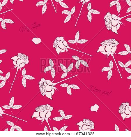 Valentines Day Seamless Pattern with Flowers. Vector illustration