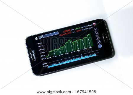 Bangkok, Thailand - January 31, 2017: Thai Major Stock Index, SET Index, Historical Graph on January 30, 2017 via Streaming Application on Android