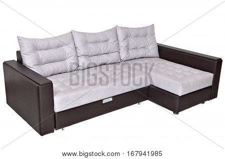 Corner convertible sofa bed with storage system upholstery soft white fabric and armrests upholstered brown leatherette isolated on a white background saved path selection.