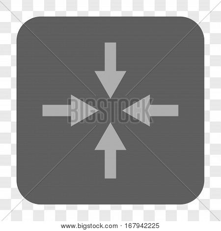 Compress Arrows interface toolbar button. Vector icon style is a flat symbol on a rounded square button, light gray and gray colors, chess transparent background.